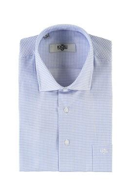 Erkek Giyim - UÇUK MAVİ L Beden Kısa Kol Desenli Klasik Gömlek