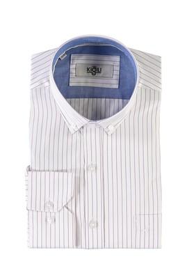 Erkek Giyim - LİLA L Beden Uzun Kol Çizgili Klasik Gömlek