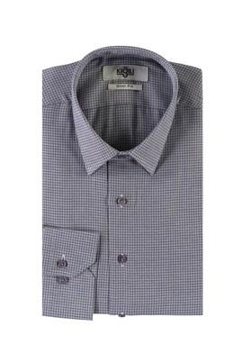 Erkek Giyim - ORTA LACİVERT XL Beden Uzun Kol Desenli Slim Fit Gömlek