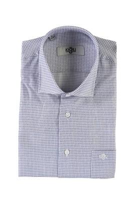Erkek Giyim - AÇIK LACİVERT XL Beden Kısa Kol Desenli Klasik Gömlek