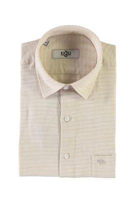 Erkek Giyim - AÇIK KAHVE M Beden Kısa Kol Desenli Klasik Gömlek