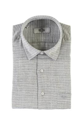 Erkek Giyim - ORTA LACİVERT XL Beden Kısa Kol Desenli Klasik Gömlek