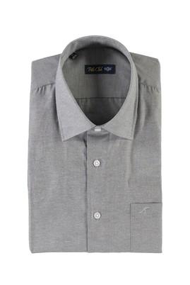 Erkek Giyim - ORTA FÜME L Beden Kısa Kol Desenli Klasik Gömlek