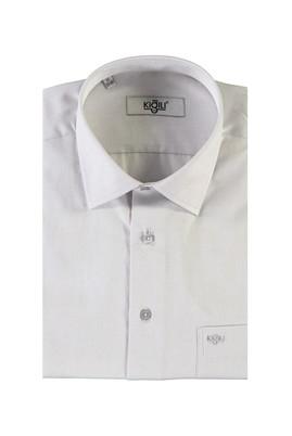 Erkek Giyim - AÇIK GRİ M Beden Kısa Kol Klasik Gömlek