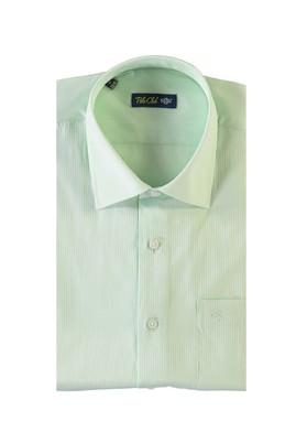 Erkek Giyim - ACIK YESIL 4X Beden Kısa Kol Desenli Klasik Gömlek