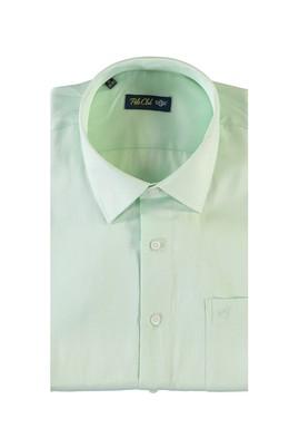 Erkek Giyim - ACIK YESIL XXL Beden Kısa Kol Desenli Klasik Gömlek