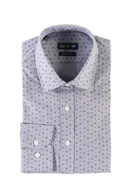 Erkek Giyim - MAVİ L Beden Uzun Kol Regular Fit Baskılı Spor Gömlek