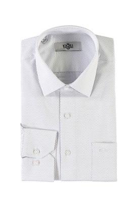 Erkek Giyim - KOYU MAVİ 4X Beden Uzun Kol Desenli Klasik Gömlek