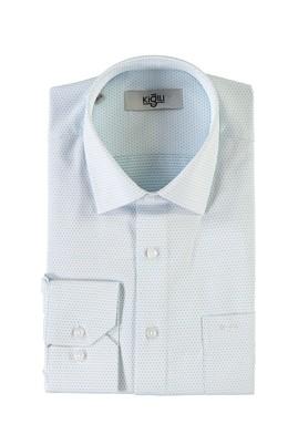 Erkek Giyim - ORMAN YEŞİLİ 3X Beden Uzun Kol Desenli Klasik Gömlek