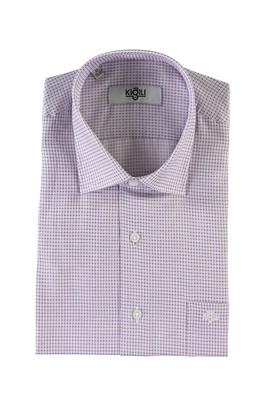 Erkek Giyim - AÇIK MOR XXL Beden Kısa Kol Desenli Klasik Gömlek