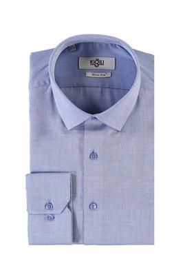 Erkek Giyim - MAVİ XS Beden Uzun Kol Desenli Slim Fit Gömlek