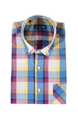 Erkek Giyim - KOYU YESİL 4X Beden Kısa Kol Ekose Spor Gömlek