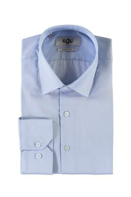 Erkek Giyim - AÇIK MAVİ XS Beden Uzun Kol Desenli Slim Fit Gömlek