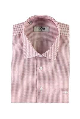 Erkek Giyim - AÇIK KIRMIZI M Beden Kısa Kol Regular Fit Desenli Gömlek
