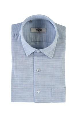 Erkek Giyim - KOYU MAVİ M Beden Kısa Kol Desenli Klasik Gömlek
