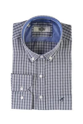 Erkek Giyim - AÇIK LACİVERT L Beden Uzun Kol Desenli Klasik Gömlek
