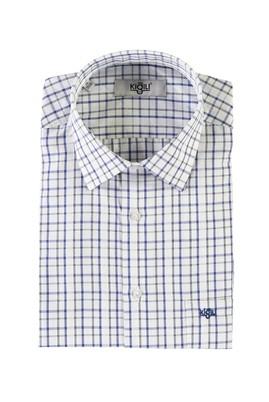 Erkek Giyim - MAVİ L Beden Kısa Kol Ekose Klasik Gömlek