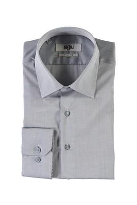 Erkek Giyim - AÇIK GRİ XL Beden Uzun Kol Desenli Slim Fit Gömlek