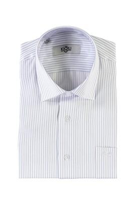 Erkek Giyim - HAVACI MAVİ S Beden Kısa Kol Çizgili Klasik Gömlek