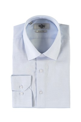 Erkek Giyim - AÇIK MAVİ M Beden Uzun Kol Desenli Slim Fit Gömlek