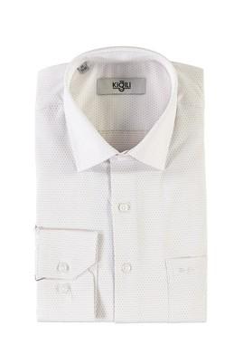 Erkek Giyim - ORTA KAHVE XL Beden Uzun Kol Desenli Klasik Gömlek