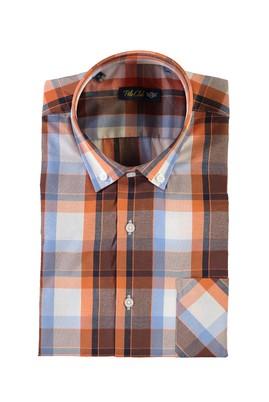 Erkek Giyim - TURUNCU L Beden Kısa Kol Ekose Spor Gömlek