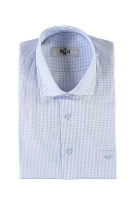 Erkek Giyim - AÇIK MAVİ 3X Beden Kısa Kol Desenli Klasik Gömlek