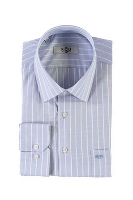 Erkek Giyim - GÖK MAVİSİ L Beden Uzun Kol Çizgili Klasik Gömlek