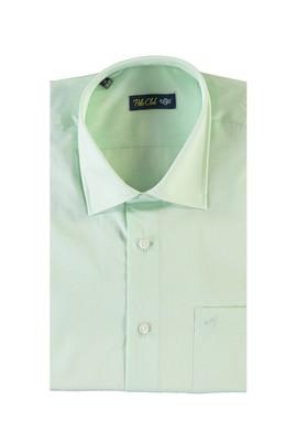 Erkek Giyim - ACIK YESIL 3X Beden Kısa Kol Desenli Klasik Gömlek