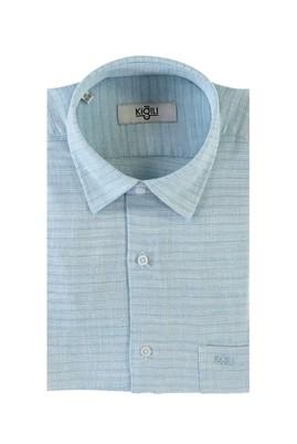 Erkek Giyim - GÖK MAVİSİ M Beden Kısa Kol Desenli Klasik Gömlek