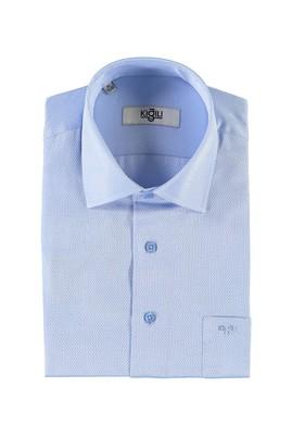 Erkek Giyim - AÇIK MAVİ S Beden Kısa Kol Desenli Klasik Gömlek