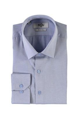 Erkek Giyim - AÇIK LACİVERT XS Beden Uzun Kol Desenli Slim Fit Gömlek