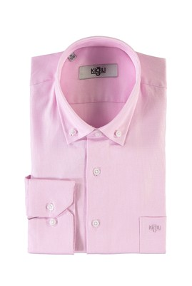 Erkek Giyim - PEMBE XXL Beden Uzun Kol Desenli Oxford Gömlek
