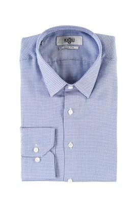 Erkek Giyim - KOYU MAVİ S Beden Uzun Kol Desenli Slim Fit Gömlek