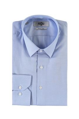 Erkek Giyim - UÇUK MAVİ M Beden Uzun Kol Desenli Slim Fit Gömlek