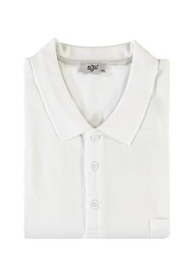 Erkek Giyim - BEYAZ 4X Beden King Size Polo Yaka Tişört