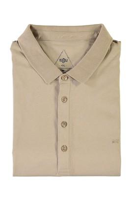 Erkek Giyim - BEJ 7X Beden King Size Polo Yaka Süprem Tişört