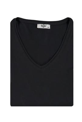 Erkek Giyim - SİYAH 5X Beden King Size V Yaka Tişört