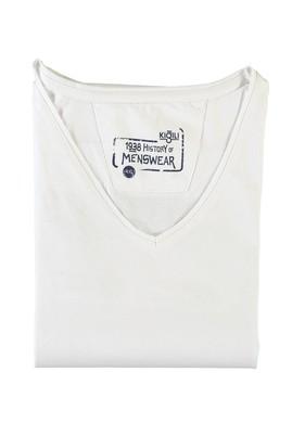 Erkek Giyim - BEYAZ 5X Beden King Size V Yaka Tişört