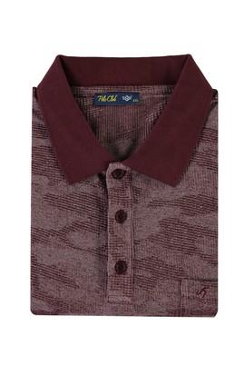 Erkek Giyim - BORDO 4X Beden King Size Polo Yaka Tişört