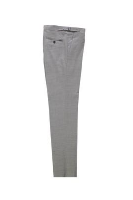 Erkek Giyim - AÇIK GRİ 52 Beden Slim Fit Yünlü Tokalı Pileli Klasik Pantolon