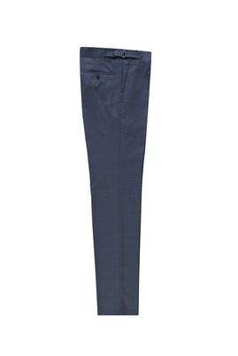 Erkek Giyim - ORTA LACİVERT 48 Beden Slim Fit Yünlü Tokalı Pileli Klasik Pantolon