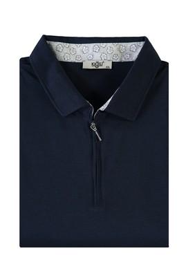 Erkek Giyim - AÇIK LACİVERT 5X Beden King Size Polo Yaka Fermuarlı Tişört