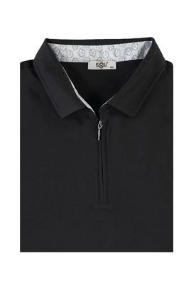Erkek Giyim - SİYAH 7X Beden King Size Polo Yaka Fermuarlı Tişört