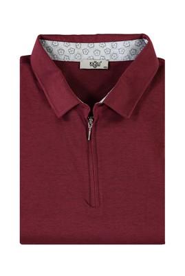 Erkek Giyim - KOYU BORDO 7X Beden King Size Polo Yaka Fermuarlı Tişört