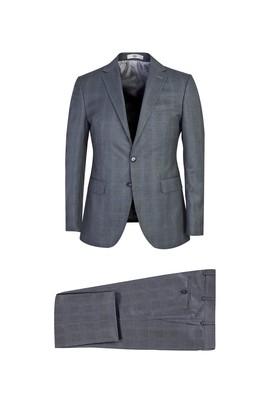 Erkek Giyim - ORTA FÜME 48 Beden Slim Fit Ekose Takım Elbise
