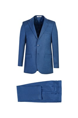Erkek Giyim - MAVİ 48 Beden Klasik Desenli Takım Elbise