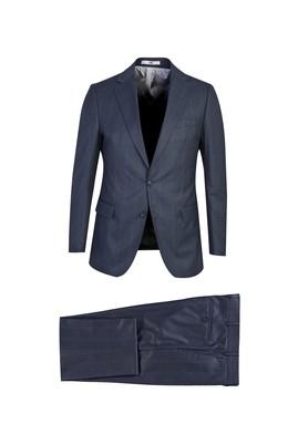 Erkek Giyim - KOYU MAVİ 48 Beden Regular Fit Ekose Takım Elbise