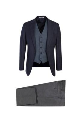 Erkek Giyim - ORTA LACİVERT 62 Beden Yelekli Desenli Takım Elbise