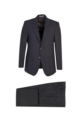 Erkek Giyim - SİYAH 58 Beden Klasik Yünlü Desenli Takım Elbise